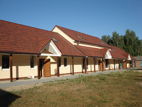 Newly built building of Mission camp at Lake Svityaz